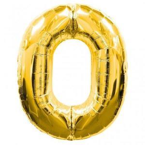 Gold Metallic Foil Balloon Number 0