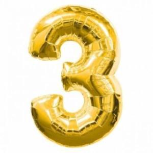 Gold Metallic Foil Balloon Number 3