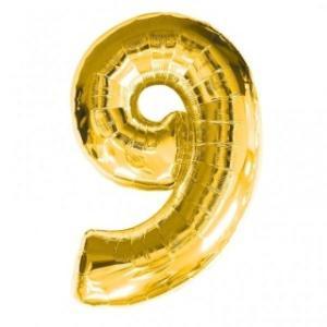 Gold Metallic Foil Balloon Number 9