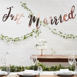 Beautiful Botanics Rose Gold Just Married Backdrop