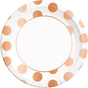 Copper Dotted Paper Plates (8)