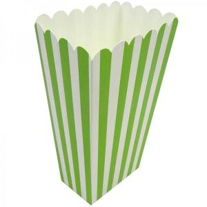 Lime Green Striped Popcorn Boxes (10) - Medium