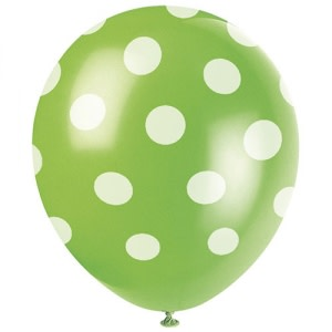 Lime Green Dotted Balloons (6)