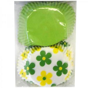 Green and Daisy Yellow Paper Baking-cups (50pc)