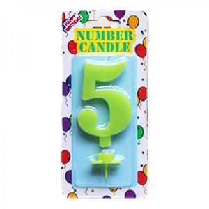 Green Number Candle 5