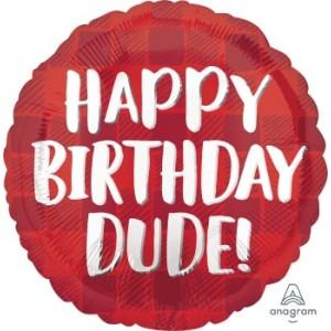 Happy Birthday Dude Foil Balloon 17 Inch