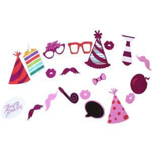 Photo Props Purple Happy Birthday