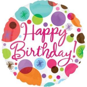 Happy Birthday Polka Dot Balloons