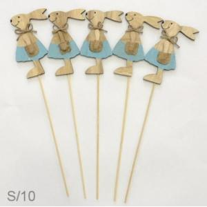 Wooden Bunny Blue On Stick  (Each)