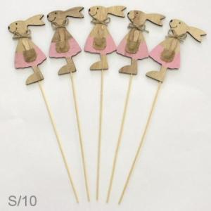 Wooden Bunny Pink On Stick (Each)
