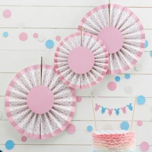 Little Lady or Mini Mister - Pink Spotty Fan Decorations