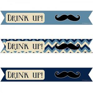 Little Man Moustache Straw Flags (25)