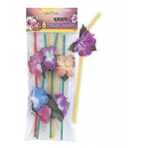 Luau Flower Straws (6)