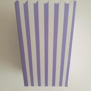 Lavender  Striped Popcorn Boxes (10) - 15cm x 10cm
