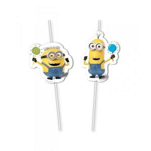 Minion Balloon Flexi Straws (6)