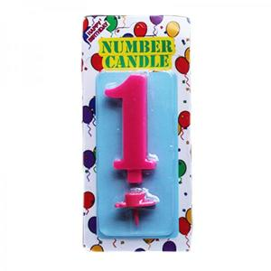 Pink Number Candle 1