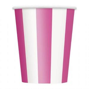 Magenta Striped Paper Cups (6)