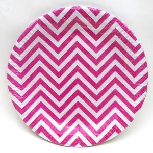 Magenta Chevron Paper Plates (10)