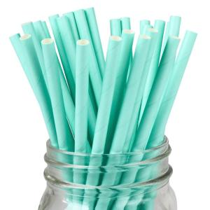 Light Blue Solid Party Straws (25)
