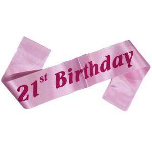 21st Birthday Sash Light pink