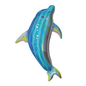 Blue Dolphin Iridescent Supershape Foil Balloon