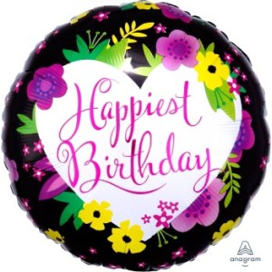 Happiest Birthday Floral Foil Balloon 17 Inch