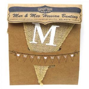 Vintage Affair Mnr & Mev Hessian Bunting