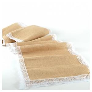 Hessian Runner with White Lace Edge