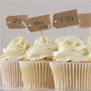 Vintage Affair Brown Kraft Blank Cupcake Sticks (12)