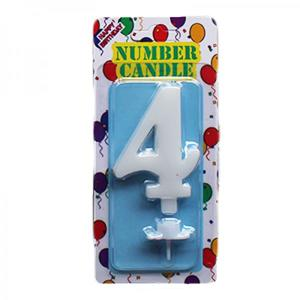 White Number Candle 4