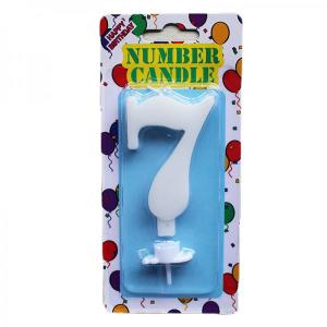 White Number Candle 7