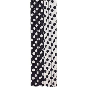 Black Dotted Party Straws (10)