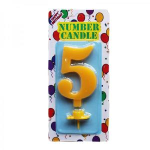 Yellow Number Candle 5