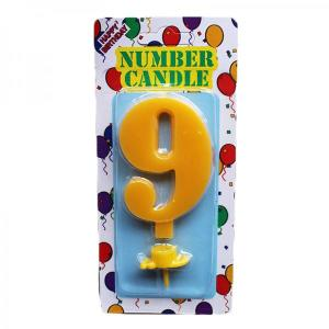 Yellow Number Candle 9