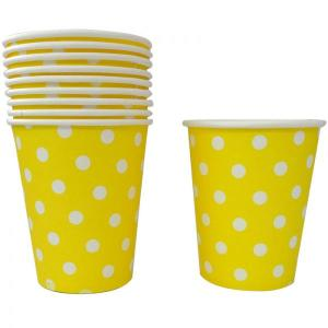 Yellow Dotted Paper Cups (10)