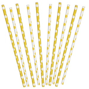 Yellow Dotted Party Straws (10)