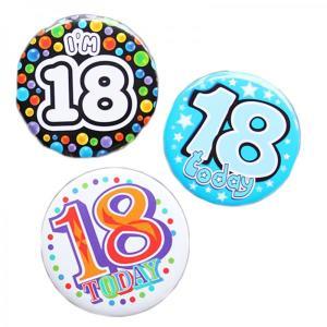 Happy 18th Birthday Badge Blue Design