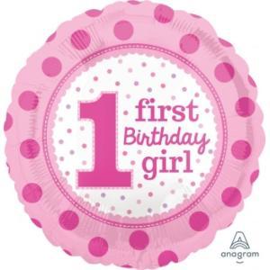 1st Birthday Girl Balloon 18 inch
