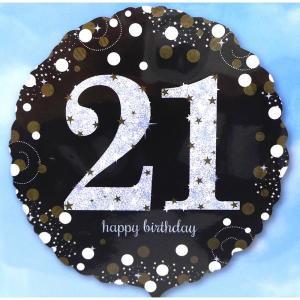 Sparkling Happy 21st Birthday Balloon