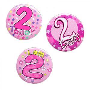 Happy 2nd Birthday Badge Girl Design