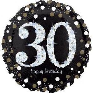 Sparkling Happy 30th Birthday Balloon