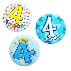 Happy 4th Birthday Badge Boy Design