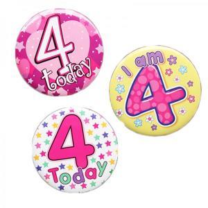 Happy 4th Birthday Badge Girl Design