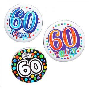 Happy 60th Birthday Badge Blue Design