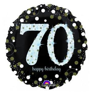 Sparkling Happy 70th Birthday Balloon