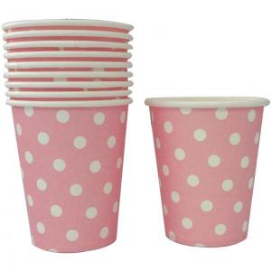 Light Pink Dotted Paper Cups (10)