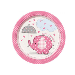 Pink Umbrellaphants Cocktail Plates (8)