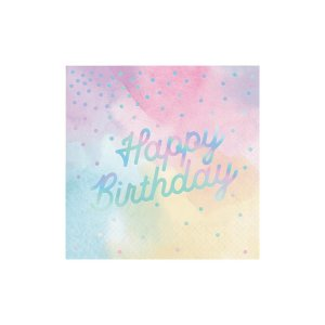 Pastel Napkins with Iridescent Happy Birthday (16)
