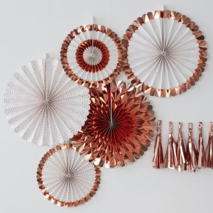 Pick & Mix Rose Gold Fan Decorations (5)