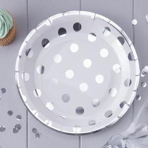 Pick & Mix Silver Polka Dot Paper Plates (8)